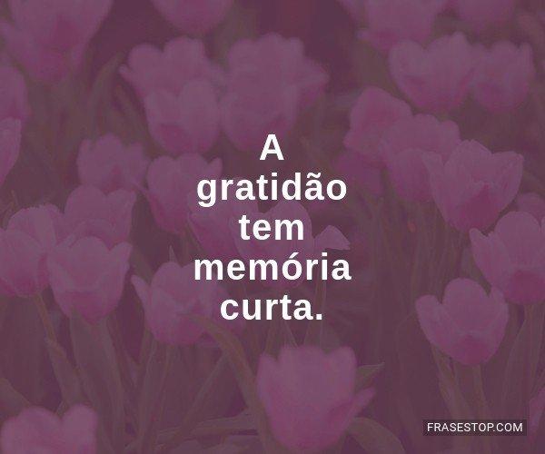 A gratidão tem memória...