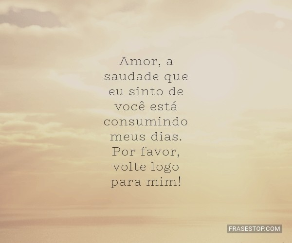 Amor, a saudade que eu...