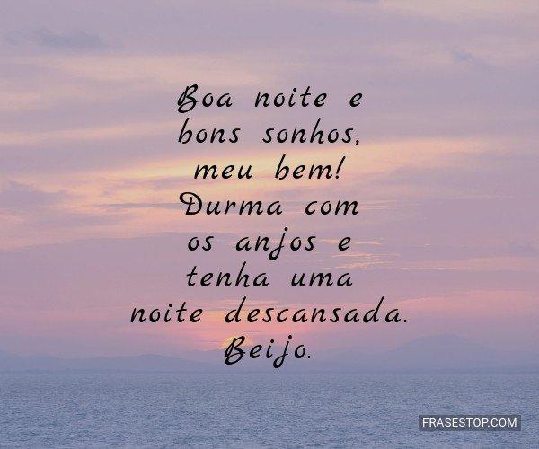Boa noite e bons sonhos,...