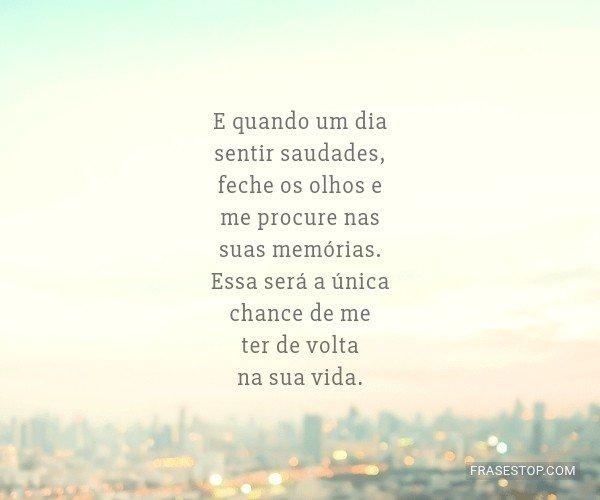E quando um dia sentir...