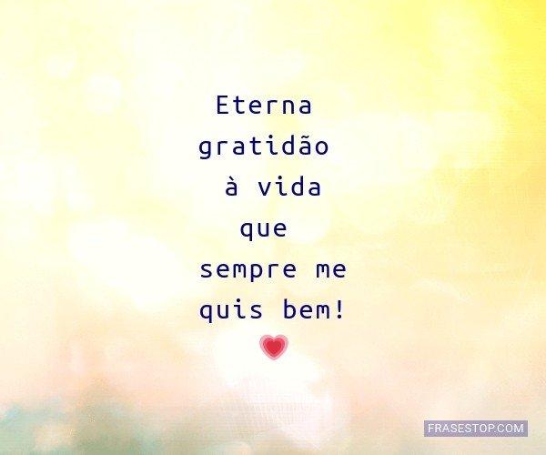 Eterna gratidão à vida...