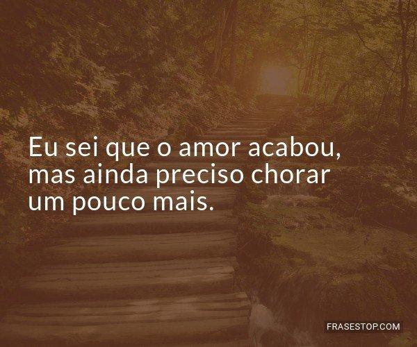 Eu sei que o amor acabou,...