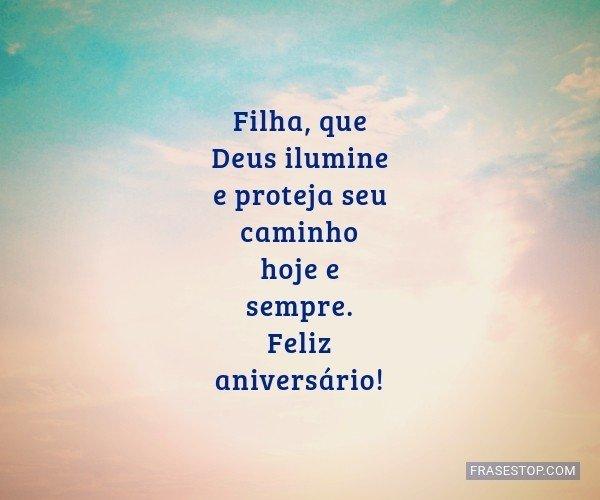 Filha, que Deus ilumine e...