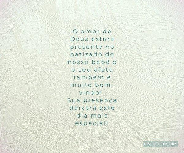 O amor de Deus estará...