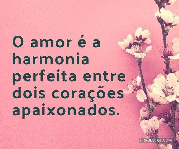 O amor é a harmonia...