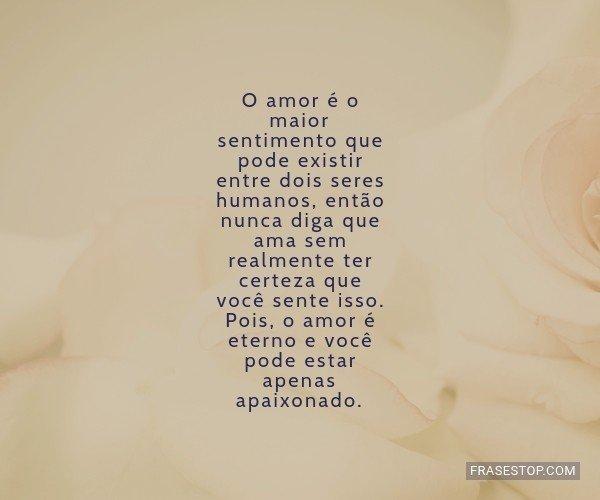 O amor é o maior...