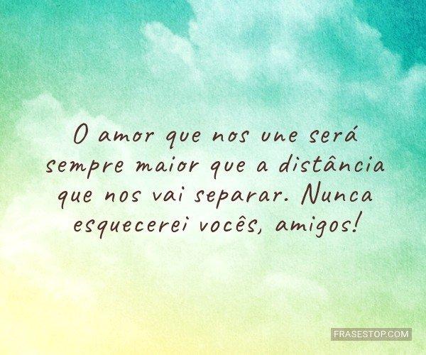 O amor que nos une será...