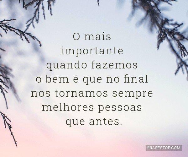 O mais importante quando...