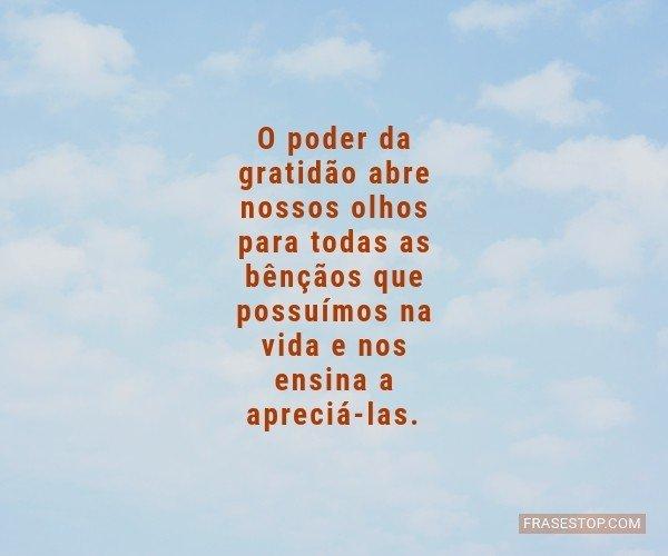 O poder da gratidão abre...