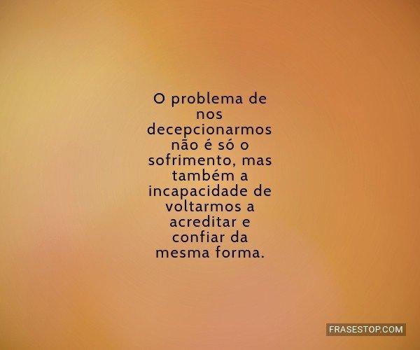 O problema de nos...