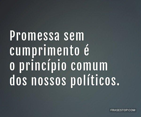Promessa sem cumprimento...