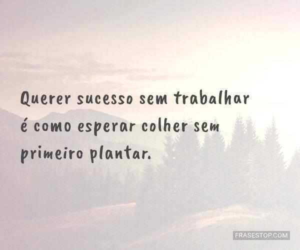 Querer sucesso sem...