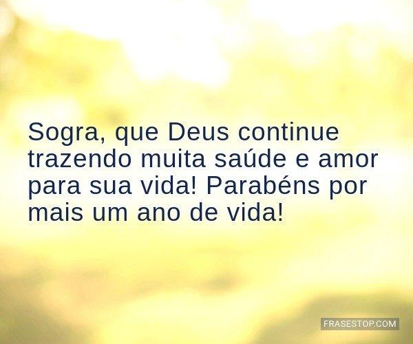 Sogra, que Deus continue...